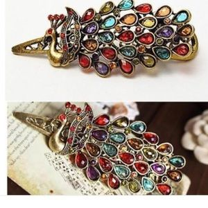 Vintage beautiful colorful peacock hair pen clip